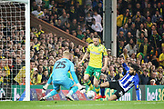 Norwich City midfielder Marco Stiepermann (18)  is through on goal during the EFL Sky Bet Championship match between Norwich City and Sheffield Wednesday at Carrow Road, Norwich, England on 19 April 2019.