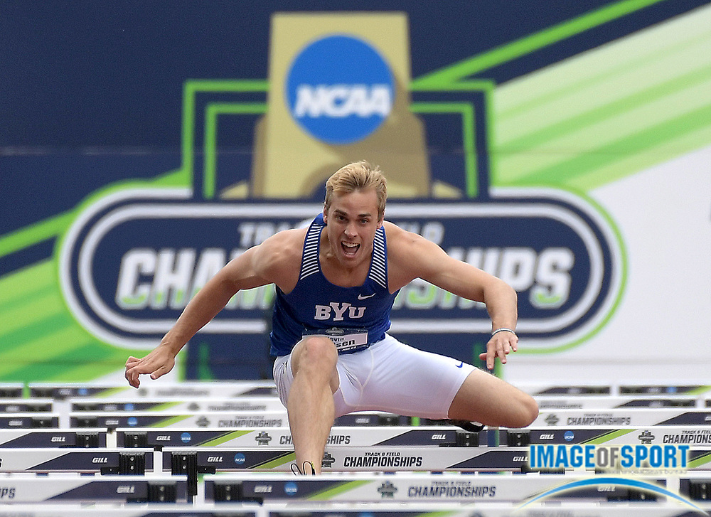 Jun 7, 2018; Eugene, OR, USA; Kevin Nielsen of BYU runs in the decathlon 110m hurdles during the NCAA Track and Field championships at Hayward Field.