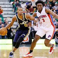 25 January 2016: Utah Jazz guard Rodney Hood (5) drives past Detroit Pistons forward Stanley Johnson (3) during the Detroit Pistons 95-92 victory over the Utah Jazz, at the Vivint Smart Home Arena, Salt Lake City, Utah, USA.