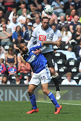 DERBYS RICHARD KEOGH HOLDS OF IPSWICH DAVID MCGOLDRICK, Derby County v Ipswich Town, Championship, The ipro Stadium, Saturday 7th MAY 2016<br /> Photo:Mike Capps