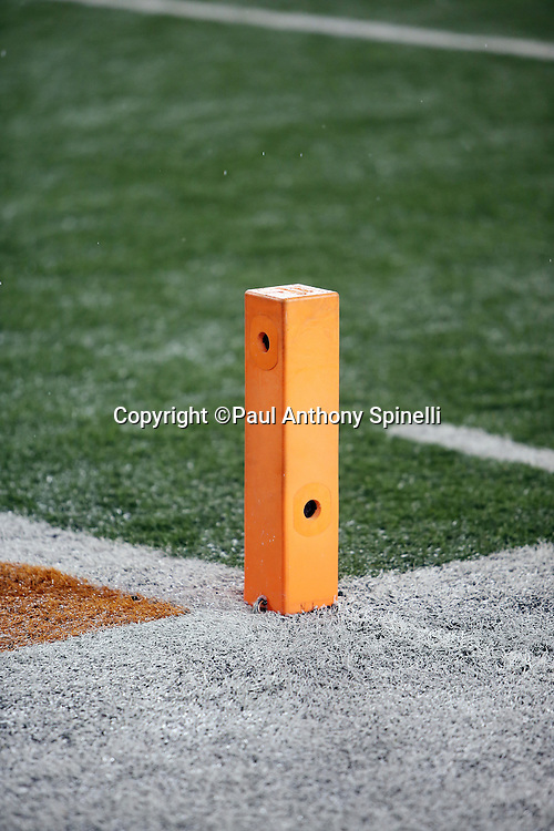 Holes are cut into an end zone pylon to make room for remote television cameras at the Cincinnati Bengals NFL AFC Wild Card playoff football game against the Pittsburgh Steelers on Saturday, Jan. 9, 2016 in Cincinnati. The Steelers won the game 18-16. (©Paul Anthony Spinelli)