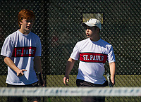 St Paul's School varsity boys tennis with Kimball Union.  ©2018 Karen Bobotas Photographer