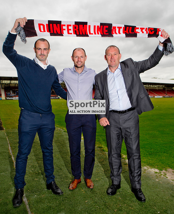 DAFC Announce Sandy Clark as assistant manager East End Park 27 May 2015<br /> (l-r) John Potter Allan Johnston and Sandy Clark<br /> (c) CRAIG BROWN | SportPix.org.uk