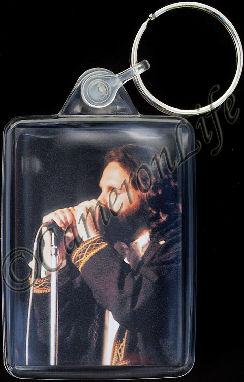Jim Morrison - Key Fob with image approx. 35mm x 50mm from 1970 Isle of Wight Music Festival exhibition on the front. The reverse has an exclusive CameronLife  1970 IW festival design