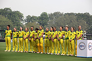 Australian players stand for the national anthem before the start of the third women's one day International ( ODI ) match between India and Australia held at the Reliance Cricket Stadium in Vadodara, India on the 18th March 2018<br /> <br /> Photo by Vipin Pawar / BCCI / SPORTZPICS