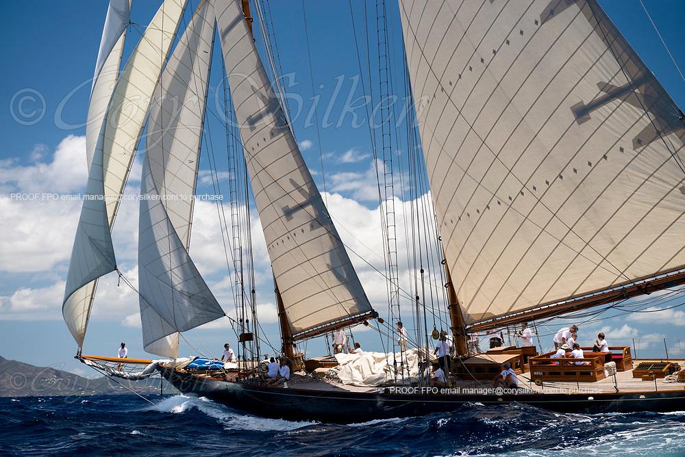 Mariette sailing in the Antigua Classic Yacht Regatta, Old Road Race.