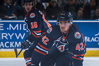 KELOWNA, CANADA - MARCH 24: Ondrej Vala #42 of the Kamloops Blazers blocks a shot against the Kelowna Rockets on March 24, 2017 at Prospera Place in Kelowna, British Columbia, Canada.  (Photo by Marissa Baecker/Shoot the Breeze)  *** Local Caption ***