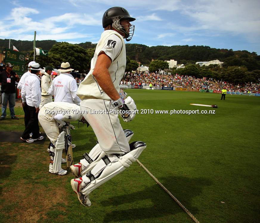 NZ opening batsmen Tim McIntosh and BJ Watling prepare to walk onto the Basin.<br /> 1st cricket test match - New Zealand Black Caps v Australia, day two at the Basin Reserve, Wellington.Saturday, 20 March 2010. Photo: Dave Lintott/PHOTOSPORT