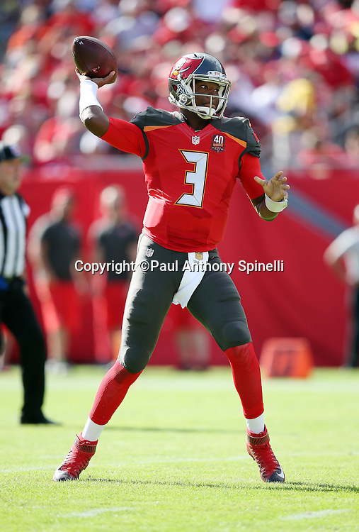 Tampa Bay Buccaneers quarterback Jameis Winston (3) throws a second quarter pass during the 2015 week 14 regular season NFL football game against the New Orleans Saints on Sunday, Dec. 13, 2015 in Tampa, Fla. The Saints won the game 24-17. (©Paul Anthony Spinelli)