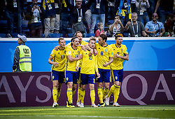 July 3, 2018 - Stockholm St Peterburg, Sweden Russia - FIFA WORLD CUP 2018 Sweden defeated Switzerland 1-0 in St Petersburg, Russia and are ready for the quarter final. VM 2018 i Ryssland. Sverige - Schweiz, 1 - 0, Ã¥ttondelsfinal, match action landslaget. Foto : PETWIX : VM Ryssland 2018 ( Sankt Petersburg ). Sverige-schweiz. 1-0, Emil Forsberg gör 1-0 (Credit Image: © WixtrÖM Peter/Aftonbladet/IBL via ZUMA Wire)