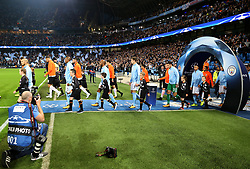 Manchester City and Shakhtar Donetsk players walk out before the match - Mandatory by-line: Matt McNulty/JMP - 26/09/2017 - FOOTBALL - Etihad Stadium - Manchester, England - Manchester City v Shakhtar Donetsk - UEFA Champions League Group stage - Group F