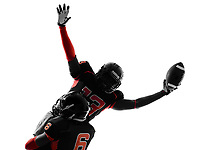 one american football player touchdown celebration in silhouette shadow on white background