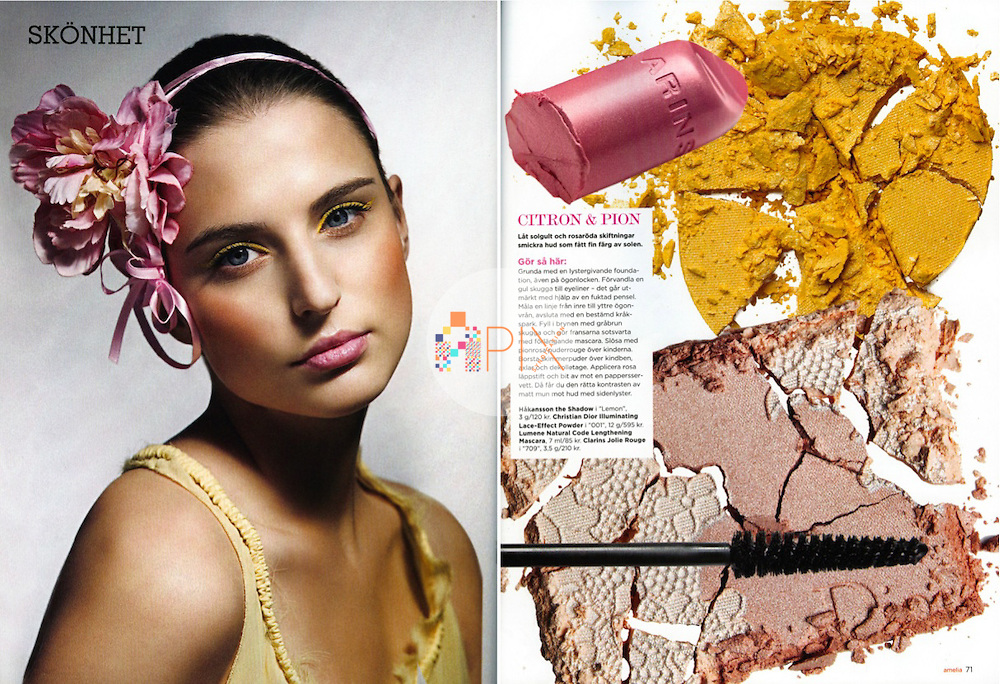 Part of a gorgeous 5-page editorial beauty story in the June issue of AMELIA magazine, Sweden.<br />