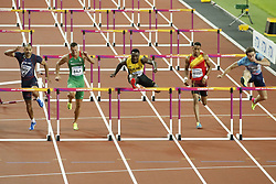 Final of the 110 meters hurdles with Jamaica's Omar McLeod 1st in line 4, Russia'Sergey Shubenkov 2nd in line 2 and Hungary's Ballas Baji in line 5 for bronze during the IAAF World Athletics 2017 Championships In Olympic Stadium, Queen Elisabeth Park, London, UK, on August 7th, 2017 Photo by Henri Szwarc/ABACAPRESS.COM