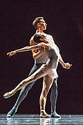 Based in Dresden, the Semperoper Ballett is internationally renowned for its distinguished ballet technique with both classical and contemporary repertoire. <br /> All Forsythe' features three pieces by William Forsythe, and this is the second of the three: Neue Suite. Neue Suite is made up of a series of pas de deux, choreographed between 1987 and 1999, set to music by Bach, Berio and Handel.  ©Tony Nandi.2018