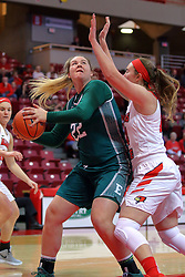 10 December 2017: Corrione Cardwell defended by Megan Talbot during an College Women's Basketball game between Illinois State University Redbirds and the Eagles of Eastern Michigan at Redbird Arena in Normal Illinois.