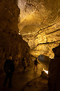 Children and and adult walk and explore the Dan yr Ogof Cave in the National Showcaves Centre for Wales, Abercrave, Swansea, Wales, UK.   (photo by Andrew Aitchison / In pictures via Getty Images)
