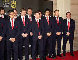 LIVERPOOL, ENGLAND - Tuesday, May 6, 2014: The Liverpool first team players arrive on the red carpet for the Liverpool FC Players' Awards Dinner 2014 at the Liverpool Arena. Philippe Coutinho Correia, Jon Flanagan, goalkeeping coach John Achterberg, Joe Allen, Luis Suarez, Lucas Leiva, manager Brendan Rodgers. (Pic by David Rawcliffe/Propaganda)