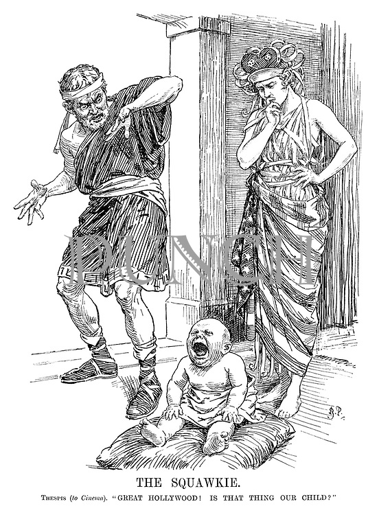 """The Squawkie. Thespis (to Cinema). """"Great Hollywood! Is that thing your child?"""" [the introduction of sound in film is received with shock by first actor Thespis, husband of Cinema, as they look down at their noisy baby]"""
