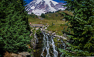Mount Rainair is a stratovolcano located in the Cascade Mountain Range, Washington State, United State of America.  Myrtle Falls in Paradise Park is one of the most visited Features in Mount Rainier National Park.