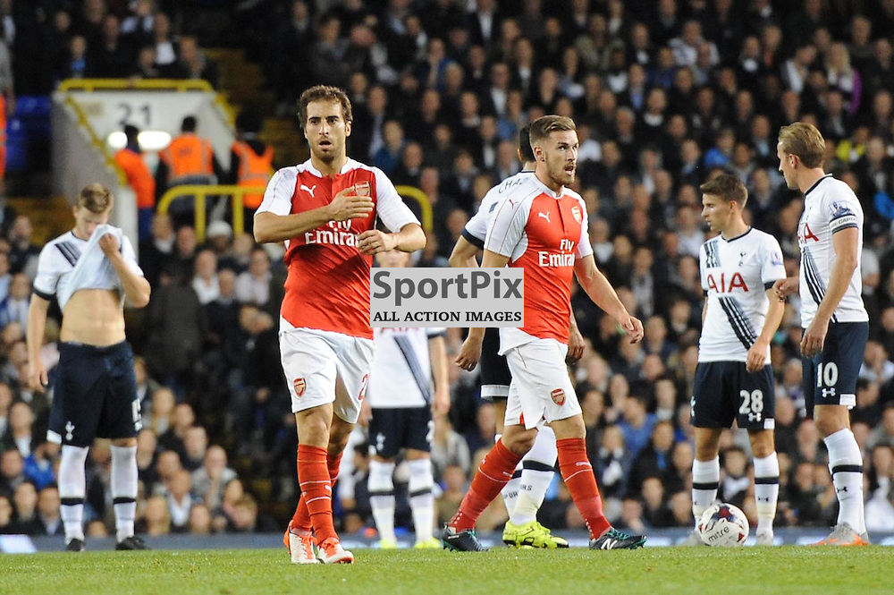 Arsenals Matthieu Flamini hits his shirts crest in celebration of putting his side 1-0 up during the Capital One Cup third round tie between Tottenham and Arsenal on 23rd September 2015