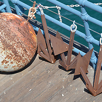 Harbor Patrol hardware. A buoy and anchors at the Santa Monica Pier.  (Wednesday, May 9, 2012).© 2012 FabianLewkowicz.com.