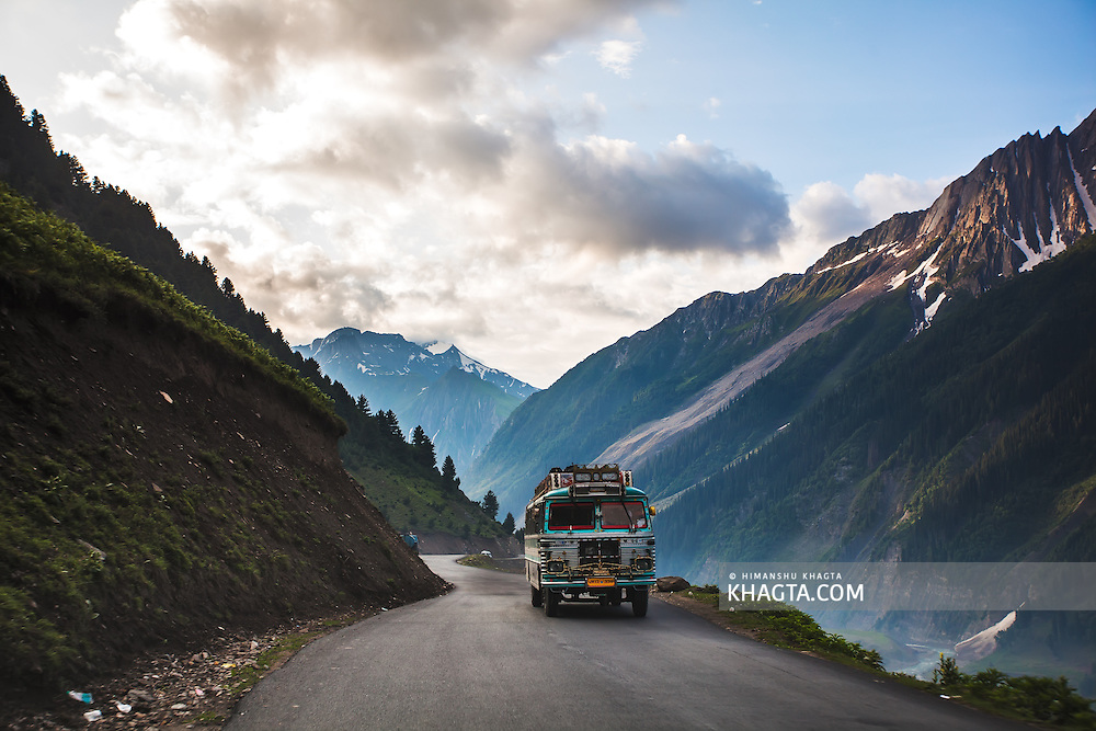 A Kashmiri Private bus on its way to Srinagar near Baltal, Kashmir