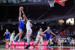 NORMAL, IL - January 06: Sammie Bachrodt works the paint against Simone Goods during a college women's basketball game between the ISU Redbirds and the Drake Bulldogs on January 06 2019 at Redbird Arena in Normal, IL. (Photo by Alan Look)