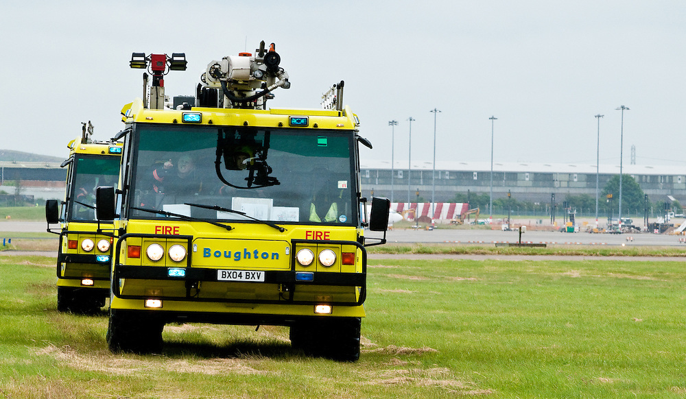 Special fire fighter vehicles during training exercise.