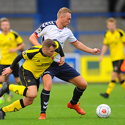 TELFORD COPYRIGHT MIKE SHERIDAN 13/10/2018 - Jon Royle of AFC Telford battles for the ball with Jake Cottrell during the Vanarama National League North fixture between AFC Telford United and Chorley