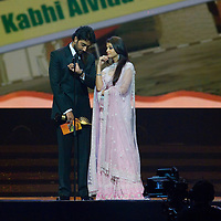 SHEFFIELD, UNITED KINGDOM - 9th June 2007: Newlywed actors Ayshwarya Rai and Abhishek Bachchan at International Indian Film Academy Awards (IIFAs) at the Sheffield Hallam Arena on June 9, 2007 in Sheffield, England.