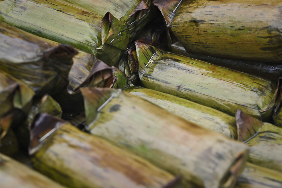 Indonesian Food Bazaar, Nasi Timbel (steamed rice in banana leaf)