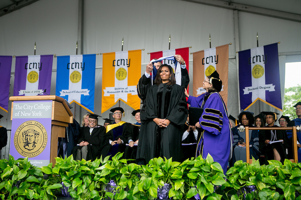 NEW YORK, NY - JUNE 3, 2016: First Lady of the United States Michelle Obama receives an honorary degree from City College of New York before speaking at their graduation ceremonies in New York, New York. CREDIT: Sam Hodgson for The New York Times.