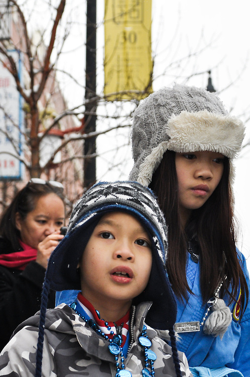 Children in the crowd. Chinese New Year, Chinatown, Chicago, February 6th, 2011