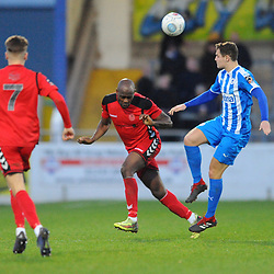 TELFORD COPYRIGHT MIKE SHERIDAN 22/12/2018 - Theo Streete of AFC Telford heads clear during the Vanarama Conference North fixture between Chester FC and AFC Telford United at the Swansway Deva Stadium, Chester.