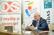 (R) Janusz Zaorski - Polish famous film director during press conference the BNP Paribas Davis Cup 2014 between Poland and Croatia at Wedding Palace in Warsaw on March 25, 2014.<br /> <br /> Poland, Warsaw, March 25, 2014<br /> <br /> Picture also available in RAW (NEF) or TIFF format on special request.<br /> <br /> For editorial use only. Any commercial or promotional use requires permission.<br /> <br /> Mandatory credit:<br /> Photo by © Adam Nurkiewicz / Mediasport