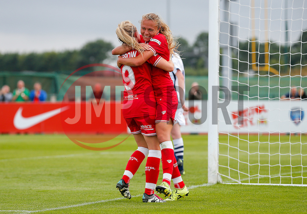 Claire Emslie of Bristol City Women celebrates with Millie Farrow after scoring a goal to make it 2-1 - Mandatory byline: Rogan Thomson/JMP - 09/07/2016 - FOOTBALL - Stoke Gifford Stadium - Bristol, England - Bristol City Women v Milwall Lionesses - FA Women's Super League 2.