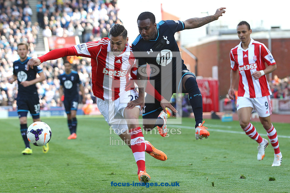 Geoff Cameron of Stoke City and Danny Rose of Tottenham Hotspur in action during the Barclays Premier League match at the Britannia Stadium, Stoke-on-Trent.<br /> Picture by Michael Sedgwick/Focus Images Ltd +44 7900 363072<br /> 26/04/2014