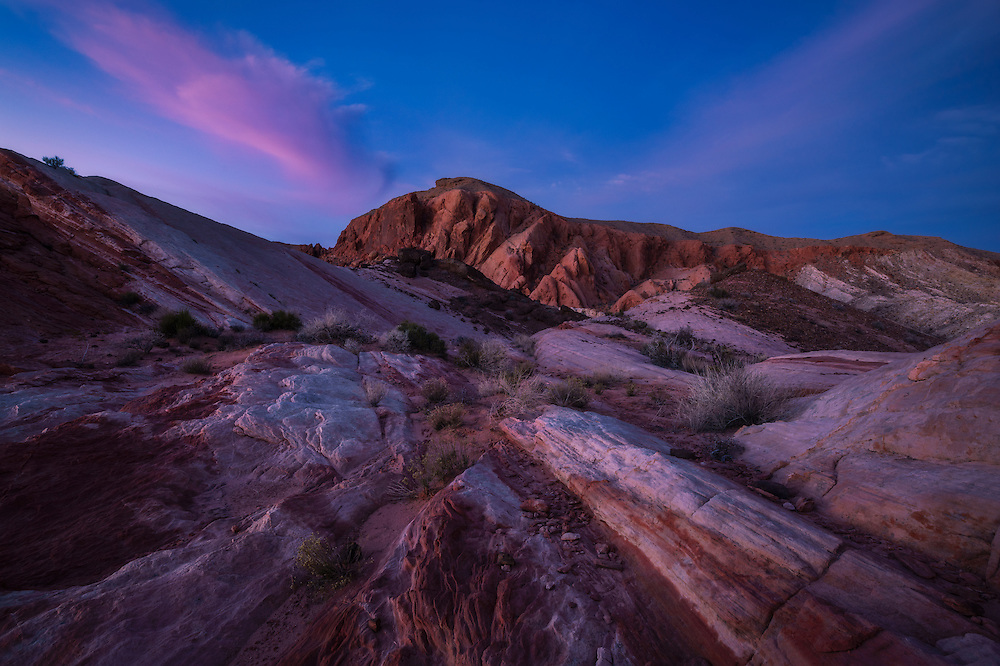 Twilight glow on sandstone formations, Valley of Fire State Park, Nevada, USA
