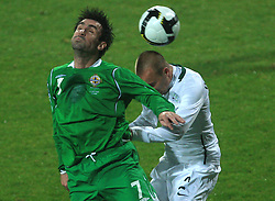 Keith Gillespie and Miso Brecko (2) at the fourth round qualification game of 2010 FIFA WORLD CUP SOUTH AFRICA in Group 3 between Slovenia and Northern Ireland at Stadion Ljudski vrt, on October 11, 2008, in Maribor, Slovenia.  (Photo by Vid Ponikvar / Sportal Images)