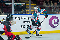 KELOWNA, CANADA - MARCH 14: Kole Lind #16 of the Kelowna Rockets passes the puck against the Prince George Cougars  on March 14, 2018 at Prospera Place in Kelowna, British Columbia, Canada.  (Photo by Marissa Baecker/Shoot the Breeze)  *** Local Caption ***