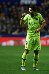 December 16, 2018 - Valencia, Valencia, Spain - Luis Suarez of FC Barcelona reacts during the La Liga match between Levante UD and FC Barcelona at Ciutat de Valencia Stadium on December 16, 2018 in Valencia, Spain. (Credit Image: © AFP7 via ZUMA Wire)