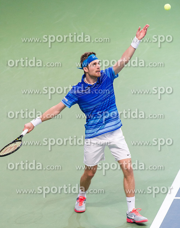06.04.2014, Aegon Arena, Bratislava, SVK, ITF, Davis Cup, Slowakei vs Oesterreich, 2. Runde, Europa-Afrika-Zone I, im Bild Norbert Gombos (SVK) // Norbert Gombos (SVK) during the 2nd round of Europe Africa zone one of ITF Davis Cup between Slovakia and Austria at the Aegon Arena in Bratislava, Slovakia on 2014/04/06. EXPA Pictures © 2014, PhotoCredit: EXPA/ Michael Gruber
