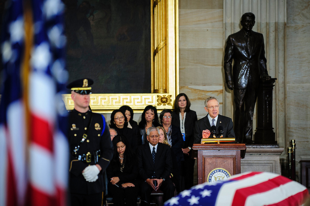 Senate Majority Leader HARRY REID (D-NV) speaks in the Capitol Rotunda on Thursday during a service and public viewing of the late Senator Daniel Inouye (D-HI) who passed away at the age of 88 on December 18 at the Walter Reed National Military Medical Center in Bethesda, Md. Inouye, 88, a decorated World War II veteran and the second-longest serving senator in history will lie in state until Friday when a memorial service will be held at the National Cathedral.