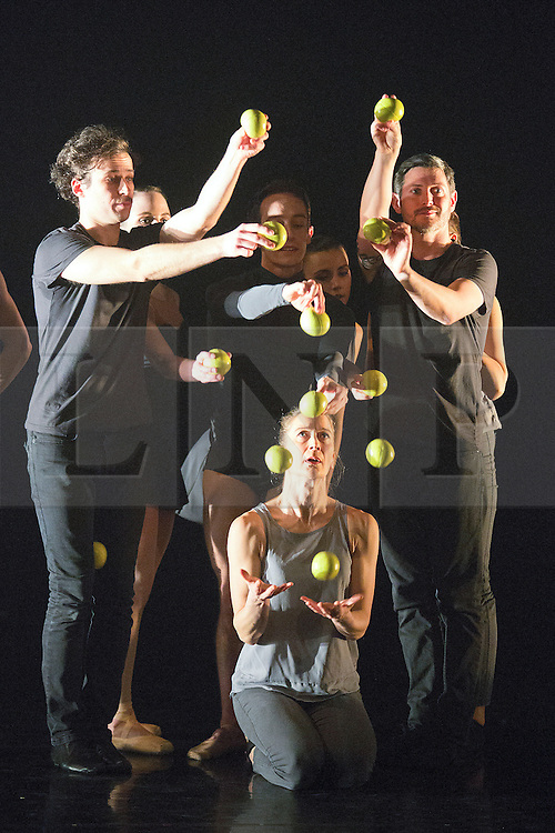 © Licensed to London News Pictures. 13/01/2015. London, England. Dress rehearsal of Gandini Juggling's new show 4 x 4 Ephemeral Architectures. Four classical dancers, choreographed by former Royal Ballet First Artist Ludovic Ondiviela, join four of Gandini's jugglers. World premiere at Linbury Studio Theatre, Royal Opera House, 13 to 15 January 2015. The show is part of the London International Mime Festival and is followed by a UK tour. Dancers: Kieran Stoneley, Kate Byrne, Erion O'Toole and Joe Bishop, jugglers: Kim Huynh, Sakari Männistö, Owen Reynolds and Kati Ylä-Hokkala. Photo credit: Bettina Strenske/LNP