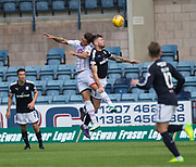 August 5th 2017, Dens Park, Dundee, Scotland; Scottish Premiership; Dundee versus Ross County; Ross County's Christopher Routis and Dundee's Kerr Waddell