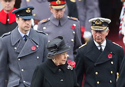 LONDON- UK - 9-NOV-2014- Members of the British royal family join HM Queen Elizabeth for the annual Remembrance Sunday service held at the Cenotaph in London to remember those who died in conflicts past and present.<br /> Attending were members of the family including, HM The Queen, HRH The Duke of Edinburgh, The Prince of Wales and the Duchess of Cornwall, the Duke and Duchess of Cambridge, Prince Harry.<br /> Photograph by Ian Jones