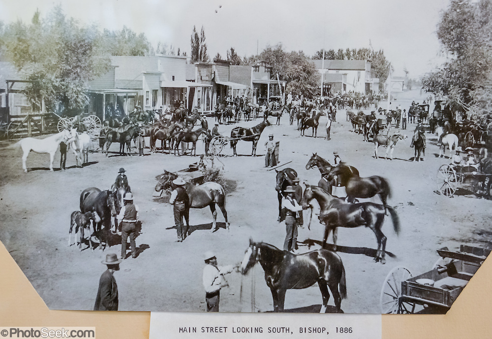 1886 photo of horsemen in Main Street in Bishop looking south -- exhibited at Eastern California Museum, 155 N. Grant Street, Independence, California, 93526, USA. The Museum was founded in 1928 and has been operated by the County of Inyo since 1968. The mission of the Museum is to collect, preserve, and interpret objects, photos and information related to the cultural and natural history of Inyo County and the Eastern Sierra, from Death Valley to Mono Lake.