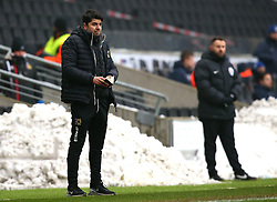 Milton Keynes Dons manager Dan Micciche stands in front of piles of snow - Mandatory by-line: Robbie Stephenson/JMP - 03/03/2018 - FOOTBALL - Stadium MK - Milton Keynes, England - Milton Keynes Dons v Bristol Rovers - Sky Bet League One