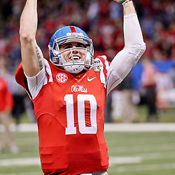 Jan 1, 2016; New Orleans, LA, USA; Mississippi Rebels quarterback Chad Kelly (10) pumps up the crowd prior to kickoff in the 2016 Sugar Bowl against the Oklahoma State Cowboys at the Mercedes-Benz Superdome. Mandatory Credit: Derick E. Hingle-USA TODAY Sports